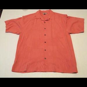 Tommy Bahama Coral Salmon Pink Shirt Large Silk